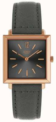 Henry London Dames heritage vierkante kast grijs sunray wijzerplaat rose gouden kast HL26-QS-0262