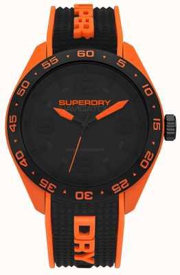 Superdry Navigator zwarte wijzerplaat oranje en zwart rubberen siliconen band SYG213B