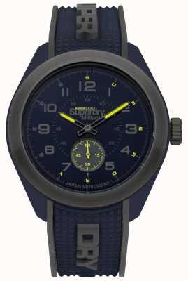 Superdry Navigator militair blauwe en grijze rubberen horlogeband in twee kleuren SYG214U