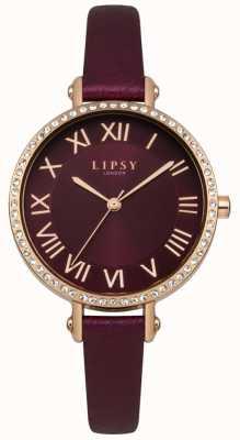 Lipsy Burgandy sunray wijzerplaat rose goud kristal gezet etui leer LP537