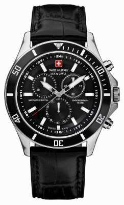 Swiss Military Hanowa Vlaggenschoen chronograaf zwarte leren riem 6-4183.7.04.007