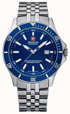 Swiss Military Hanowa Vlaggenschip roestvrij stalen armband blauwe wijzerplaat 6-5161.2.04.003