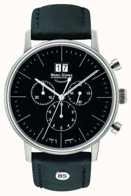 Bruno Sohnle Stuttgart chronograaf 42mm quartz roestvrij staal zwarte wijzerplaat 17-13177-741