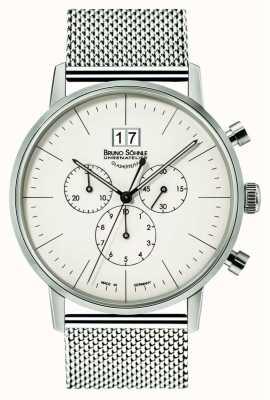 Bruno Sohnle Stuttgart chronograaf 42mm quartz roestvrij staal witte wijzerplaat 17-13177-240