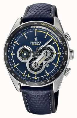 Festina Chronograaf dag en datum geven blauw wijzerplaat blauw leer weer F20202/2