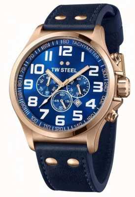 TW Steel Heren piloot chronograaf blauwe lederen band blauwe wijzerplaat TW0407