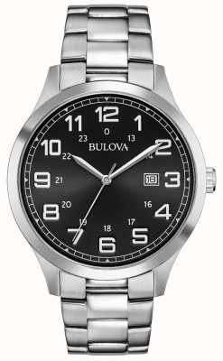 Bulova Datumaanduiding zwart metalen armband in roestvrij staal 96B274