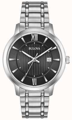 Bulova Datumaanduiding zwart metalen armband in roestvrij staal 96B278