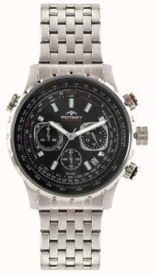 Rotary Heren chronograaf roestvrij stalen armband zwarte wijzerplaat GB00185/04