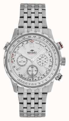 Rotary Heren chronograaf roestvrij stalen armband witte wijzerplaat GB00175/06S