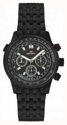 Rotary Heren chronograaf zwarte ip stalen zwarte wijzerplaat GB00177/04S