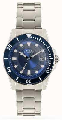 Rotary Heren roestvrij stalen armband blauwe wijzerplaat GB00487/05