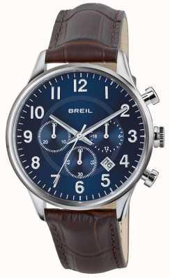 Breil Contempo roestvrij stalen chronograaf blauwe wijzerplaat bruine riem TW1576