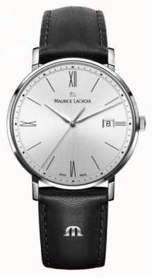 Maurice Lacroix Dames eliros zwart lederen en zilveren kasthorloge EL1084-SS001-110-1