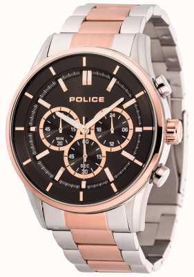 Police Heren rush roestvrij staal en rosé gouden armband zwarte wijzerplaat 15001JSTR/02M