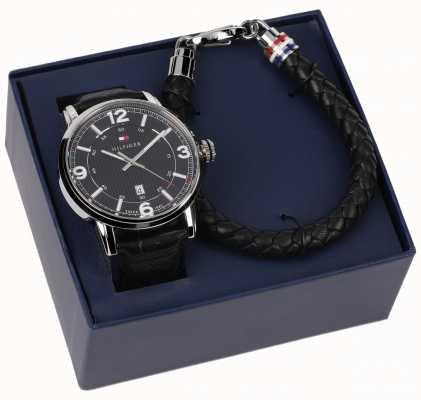 Tommy Hilfiger Lederen herenhorloge en armband-cadeauset 2770026