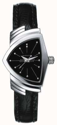Hamilton Dames ventura horloge van roestvrij staal en zwart leer H24211732