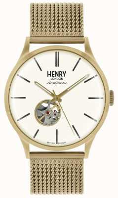 Henry London Automatische goudkleurige mesharmband witte wijzerplaat heren HL42-AM-0284