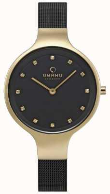 Obaku Damesshemel horloge zwart gaas armband goudkleurig etui V173LXGBMB