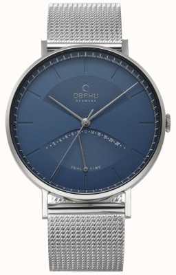 Obaku Heren iep horloge zilver mesh armband blauwe wijzerplaat V213GUCLMC