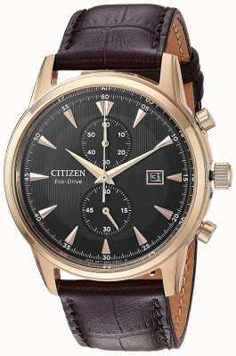 Citizen Heren chronograaf bruin lederen band CA7003-06E