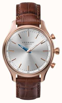 Kronaby 38mm sekel bluetooth roségouden lederen band smartwatch A1000-2748