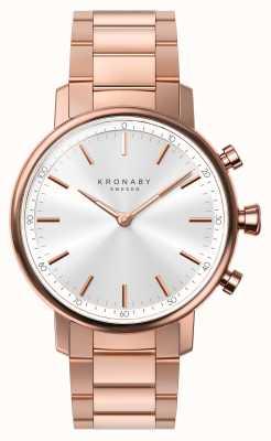 Kronaby 38mm carat bluetooth rosé gouden armband zilver smartwatch A1000-2446
