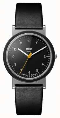 Braun Klassieke 1989 tribute design zwarte lederen band zwarte wijzerplaat AW10