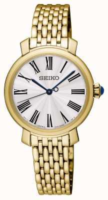 Seiko Gouden dameshorloge met wijzerplaat in verguld sterlingzilver SRZ498P1