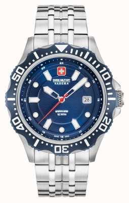 Swiss Military Hanowa Patrol donkerblauwe wijzerplaat zilveren armband 06-5306.04.003SM