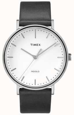 Timex Fairfield 41mm zwart lederen band / witte wijzerplaat TW2R26300