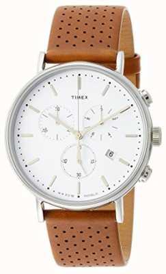 Timex Fairfield chrono bruine leren riem / witte wijzerplaat TW2R26700