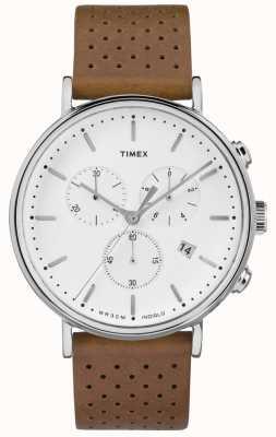 Timex Fairfield chrono bruin lederen band / witte wijzerplaat TW2R26700