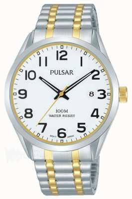 Pulsar Heren | roestvrij staal tweekleurige armband | witte wijzerplaat | PS9565X1
