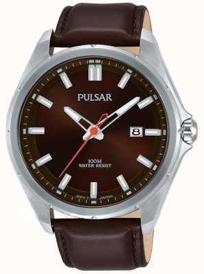 Pulsar Bruine lederen band met datumdisplay in roestvrij staal PS9555X1