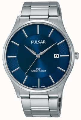 Pulsar Roestvrij stalen blauwe wijzerplaat datumweergave PS9541X1