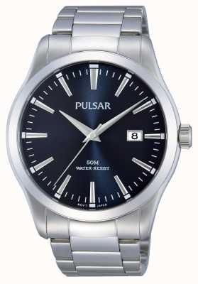 Pulsar Heren titanium armband blauwe chronograaf wijzerplaat PM3109X1