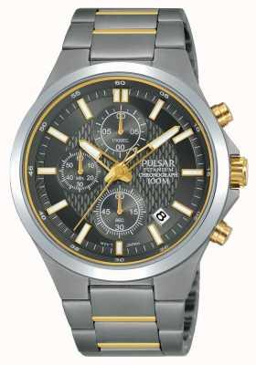 Pulsar Titanium chronograaf tweekleurige armband PM3113X1