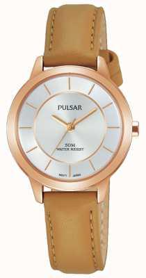 Pulsar Damesroze vergulde lederen horlogeband PH8374X1