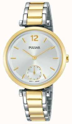 Pulsar Dames | tweekleurige roestvrij stalen armband | witte wijzerplaat | PN4064X1