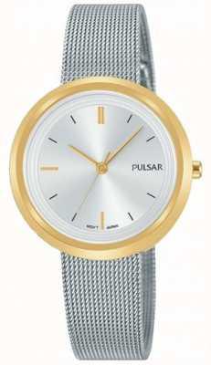 Pulsar Dames armband in zilverkleurig edelstaal rond gouden kast PH8386X1