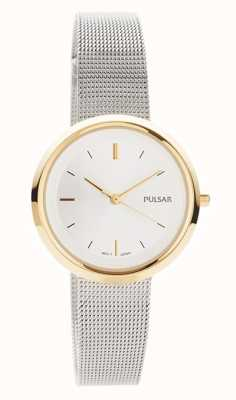 Pulsar Dames | roestvrij stalen gaas armband | ronde gouden kast | PH8386X1