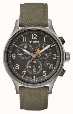 Timex Geallieerde chrono groene nylon riem / zwarte wijzerplaat TW2R47200