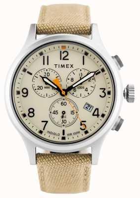 Timex Geallieerde chrono khaki nylon band / natuurlijke wijzerplaat TW2R47300