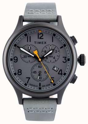 Timex Geallieerde chronogrijze leren riem / grijze wijzerplaat TW2R47400