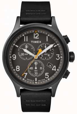 Timex Geallieerde chrono zwarte leren riem / zwarte wijzerplaat TW2R47500