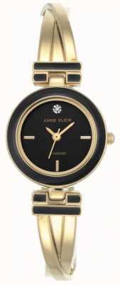 Anne Klein Dames melanie goudkleurige armband zwarte wijzerplaat AK/N2622BKGB