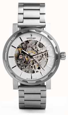 Weird Ape Kolt witte en zilveren wijzerplaat zilveren roestvrijstalen armband WA02-005536