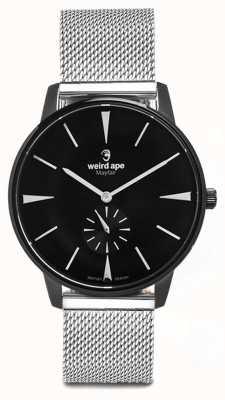 Weird Ape Mayfair zwarte wijzerplaat witte markeringen zilveren mesh armband WA02-005625