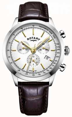 Rotary Heren cambridge chronograaf leren horloge GS05253/02
